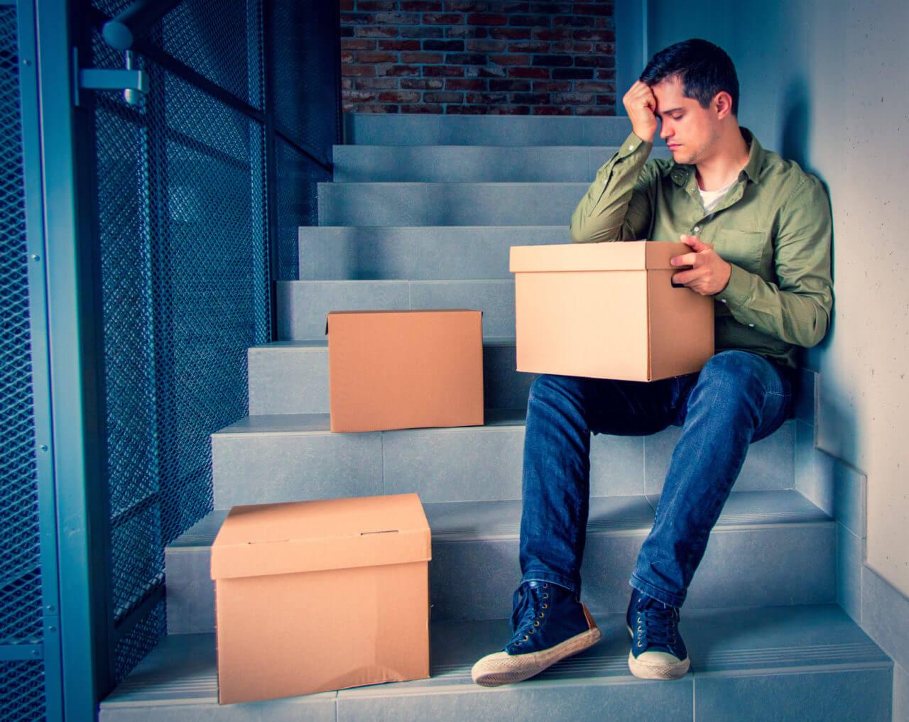 Mann unglücklich einsam